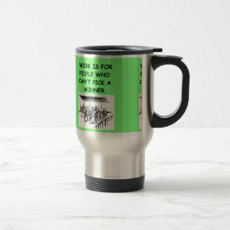 thoroughbred horse racing travel mug