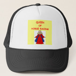 thoroughbred horse racing trucker hat