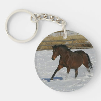 Thoroughbred Horse Running in the Snow Keychain