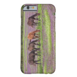 Thoroughbred horses in field of henbit flowers iPhone 6 case
