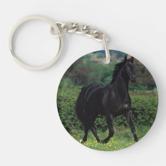 Thoroughbred Horses in Flower Field Keychain