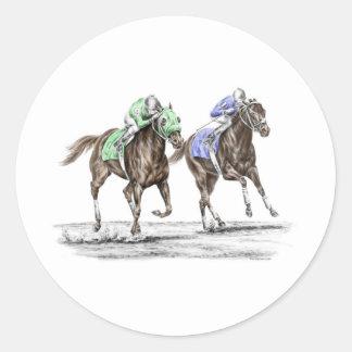 Thoroughbred Horses Racing Classic Round Sticker