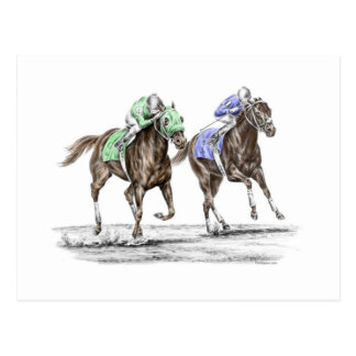 Thoroughbred Horses Racing Post Cards