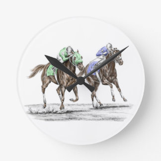 Thoroughbred Horses Racing Round Wall Clock