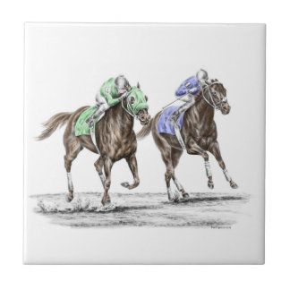Thoroughbred Horses Racing Small Square Tile