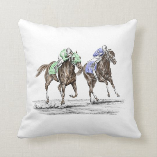 Thoroughbred Horses Racing Throw Pillow