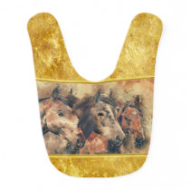 Thoroughbred horses running in a field baby bib
