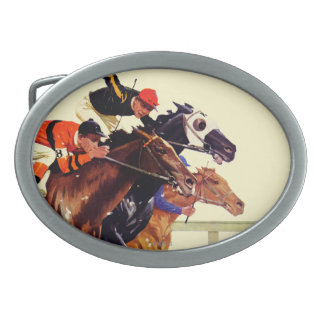 Thoroughbred Race Oval Belt Buckle