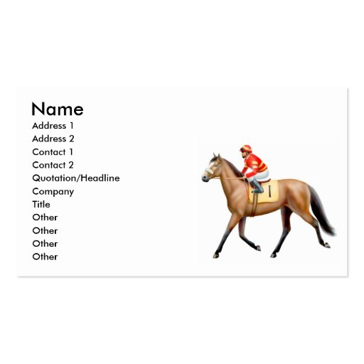 thoroughbred race horse business card zazzle