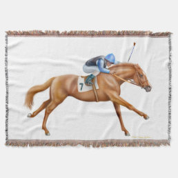 Thoroughbred Race Horse Equestrian Throw Blanket