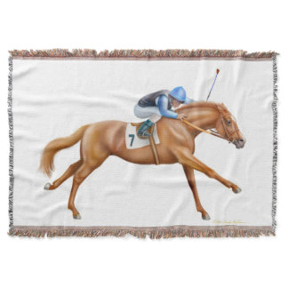 Thoroughbred Race Horse Equestrian Throw Blanket