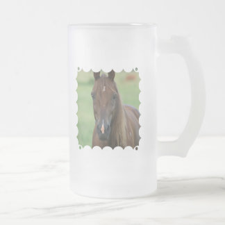Thoroughbred Race Horse Frosted Beer Mug