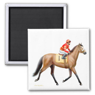 Thoroughbred Race Horse Square Magnet