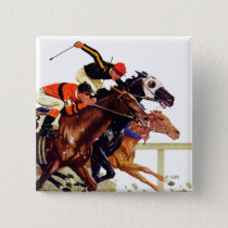 Thoroughbred Race Pinback Button