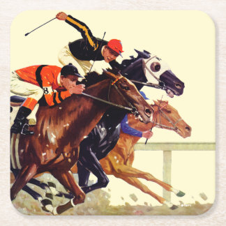 Thoroughbred Race Square Paper Coaster