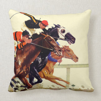 Thoroughbred Race Throw Pillows