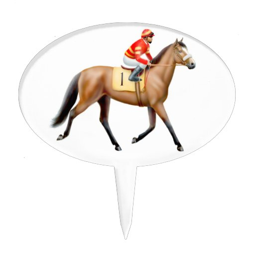Thoroughbred Racehorse Trotting To the Post Cake Topper