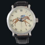 """Thoroughbred Racing Horse Equestrian Watch<br><div class=""""desc"""">Original fine art design of a Thoroughbred racehorse and jockey by equine artist Carolyn McFann of Two Purring Cats Studio printed on a quality eWatch timepiece for horse racing fans. See all our great watches in our stores at http://www.zazzle.com/twopurringcats and http://www.zazzle.com/watchit</div>"""