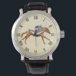 "Thoroughbred Racing Horse Equestrian Watch<br><div class=""desc"">Original fine art design of a Thoroughbred racehorse and jockey by equine artist Carolyn McFann of Two Purring Cats Studio printed on a quality eWatch timepiece for horse racing fans. See all our great watches in our stores at http://www.zazzle.com/twopurringcats and http://www.zazzle.com/watchit</div>"