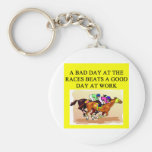 thoroughbred racing lovers basic round button keychain