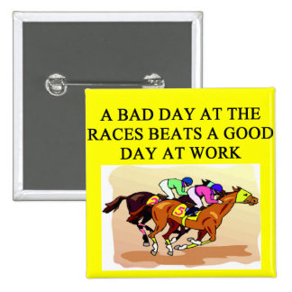 thoroughbred racing lovers pinback button