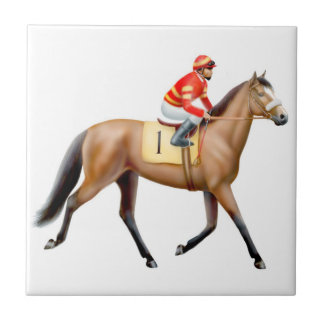 Thoroughbred Trotting to the Post Tile