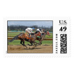 Thoroughbreds Close Race Postage
