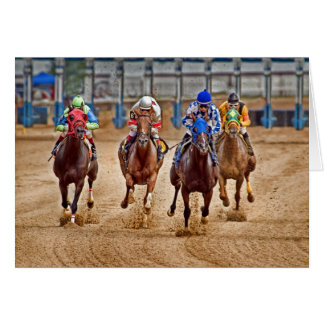 Thoroughbreds Out the Gate Greeting Card