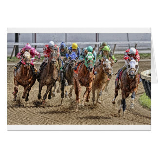 Thoroughbreds Rounding Last Turn Card