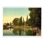 Thorpe, iglesia y río, Norwich, Inglaterra pH raro Postales