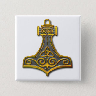 Thor's Hammer-gold Button