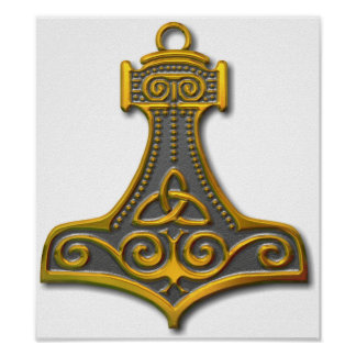 Thor's Hammer-gold Poster