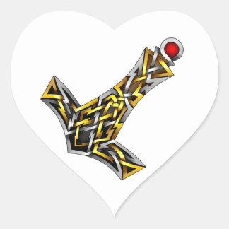 Thor's Hammer Heart Sticker