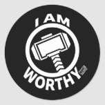 Thor's Hammer - I Am Worthy Classic Round Sticker