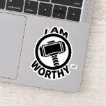 Thor's Hammer - I Am Worthy Sticker