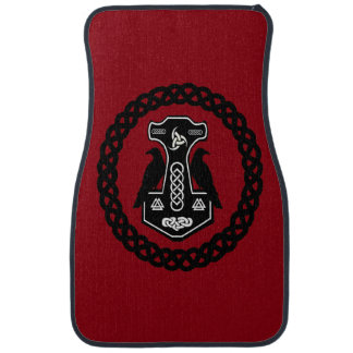 Thor's Hammer in Celtic Knot Circle Car Mat