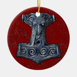 Thor's Hammer-Mjölnir in Blue on Red Ceramic Ornament