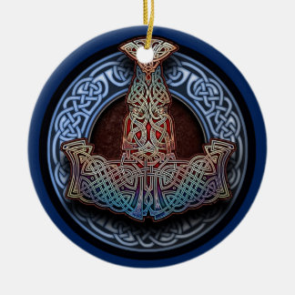 Thor's Hammer Pendant/Ornament Double-Sided Ceramic Round Christmas Ornament