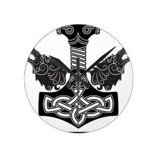 Thors Hammer Round Clock