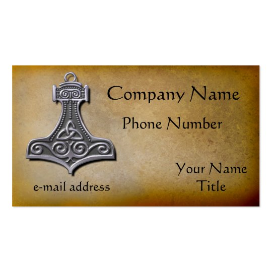 Thors Hammer silver Business Card
