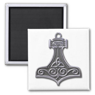 Thor's Hammer-silver 2 Inch Square Magnet