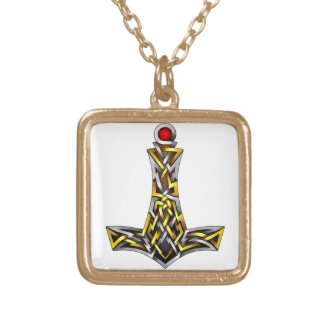 Thor's Hammer Square Pendant Necklace