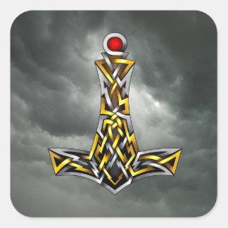 Thor's Hammer Square Sticker