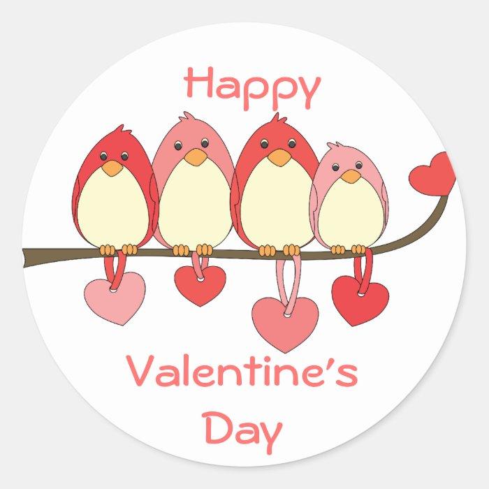 Those Birds On Valentines DAy Classic Round Sticker