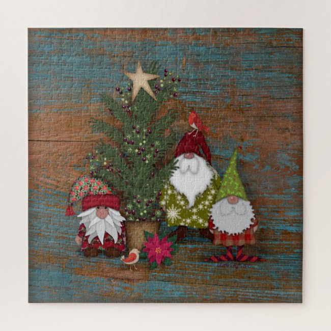 Those Cute Christmas Gnomes and Tree | Holiday Jigsaw Puzzle