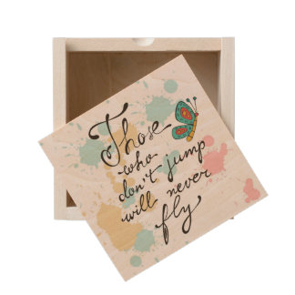 Those Who Dont Jump Will Never Fly Wooden Keepsake Box