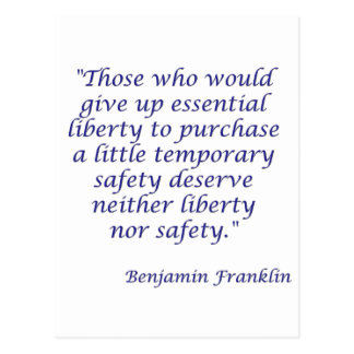 Those who would give up essential liberty... postcard