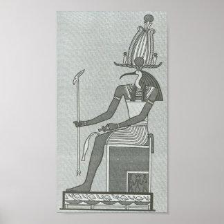 Thoth que se sienta en su cartera del trono posters