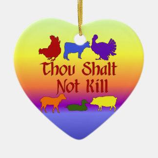 Thou Shalt Not Kill Double-Sided Heart Ceramic Christmas Ornament