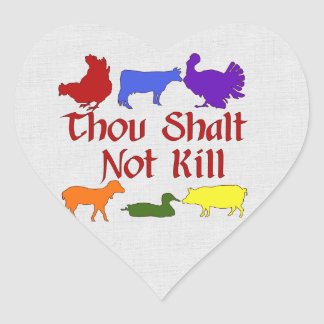 Thou Shalt Not Kill Heart Sticker